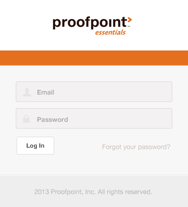 screenshot of Proofpoint essentials login