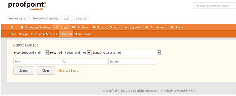screenshot of Proofpoint essentials reporting