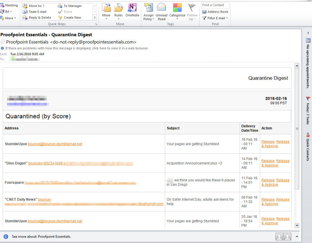 proofpoint essentials screenshot - in outlook email