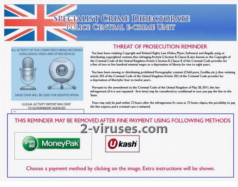 Specialist Crime Directorate ransomware screenshot