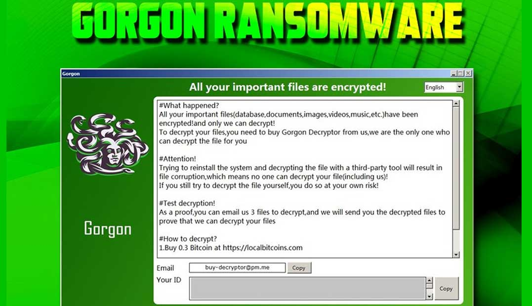 gorgon ransomware screenshot