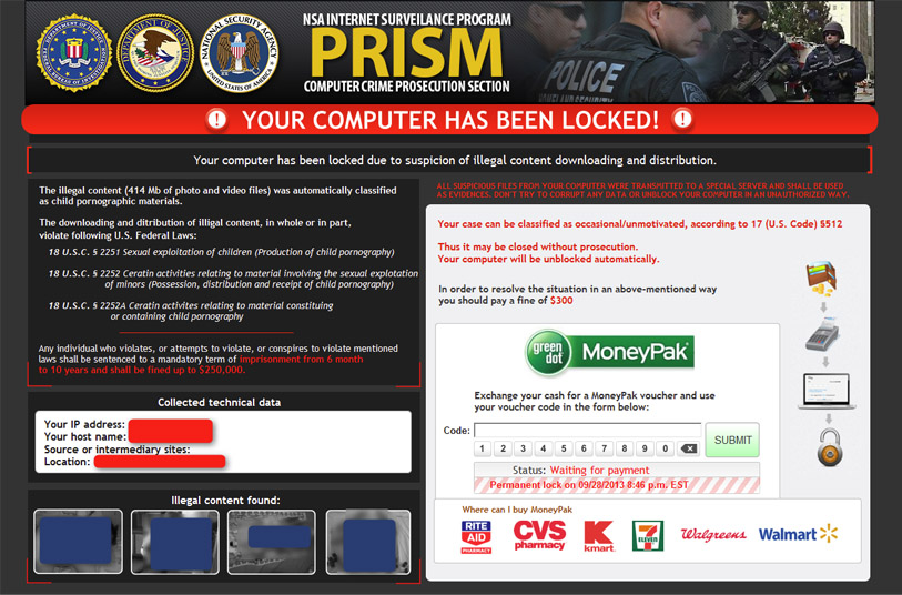 PRISM cryptolocker screenshot