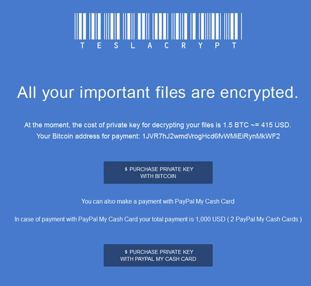 teslacrypt screenshot