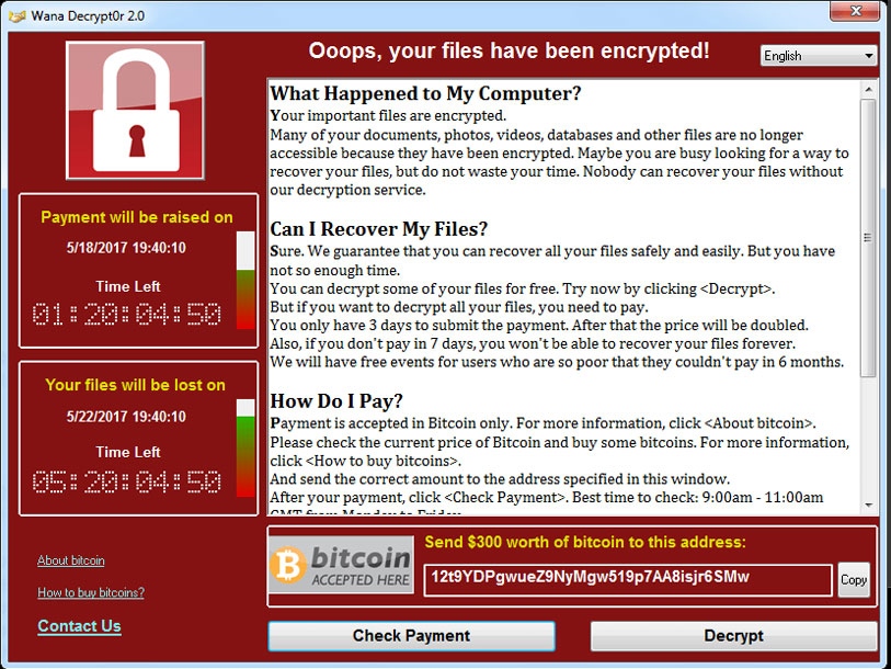 wanna cry ransomware screen shot