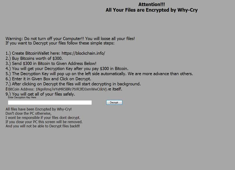 why cry ransomware screenshot