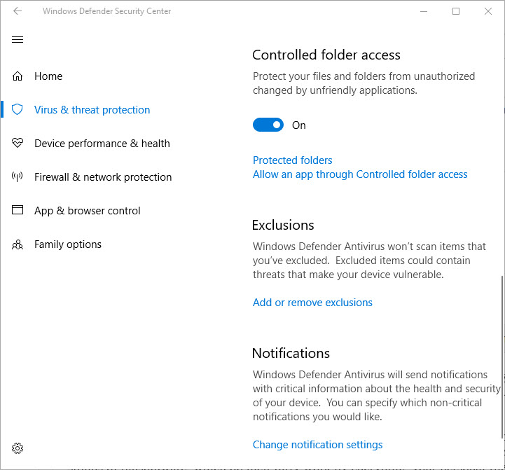 windows 10 controlled folder access switch
