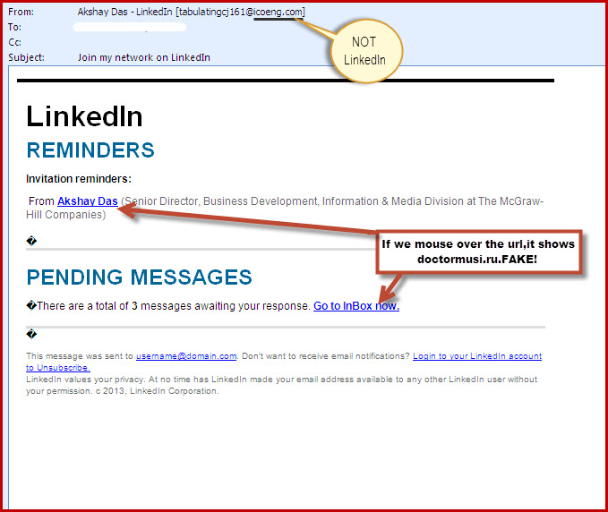 linked in phishing email