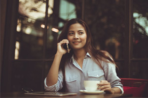 woman using phone