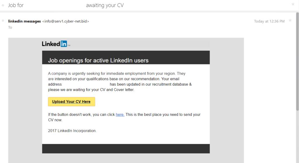 LinkedIn Phishing email screenshot