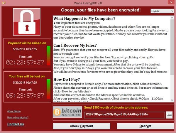 wannacry ransomware screenshot